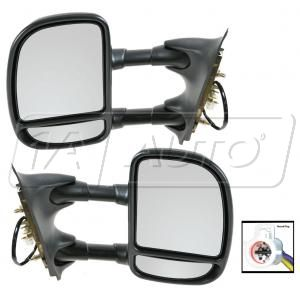 1999-2004 Ford F250 Truck Super Duty Mirrors with Round Plug Power Towing Telescoping Pair